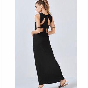 Fabletics Claudia black open back maxi dress